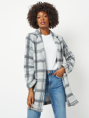 Grey Check Fleece Longline Coatigan