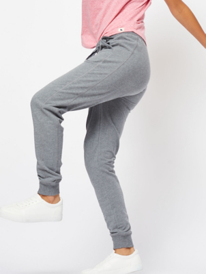 Grey Embroidered Trim Slim Joggers