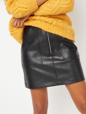 Black Faux Leather Pocket Detail Skirt