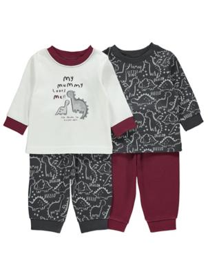 Burgundy Dinosaur Long Sleeve Pyjamas 2 Pack