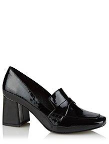 7782af4a2bf2d Black Patent Chisel Toe Block Heel Loafers