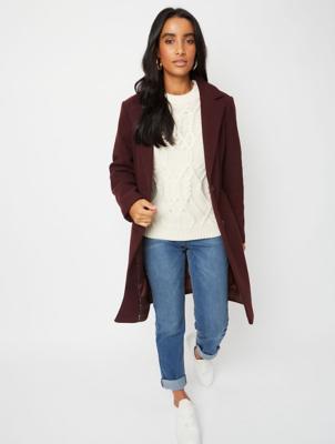 Burgundy Longline Formal Coat