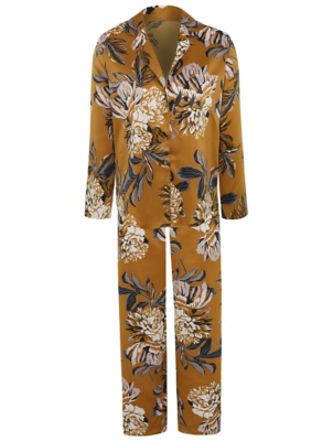 Gold Floral Print Satin Feel Pyjama Set