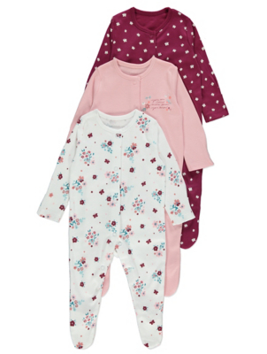 Pink Floral Butterflies Sleepsuits 3 Pack
