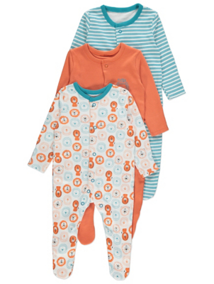 Long Sleeve Sleepsuits 3 Pack