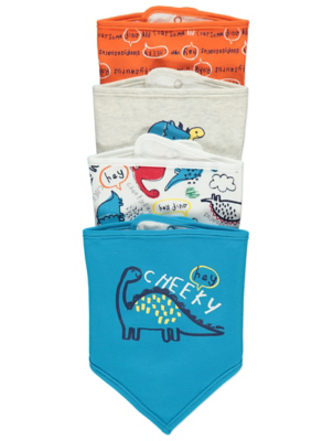 Dinosaur Slogan Bibs 4 Pack