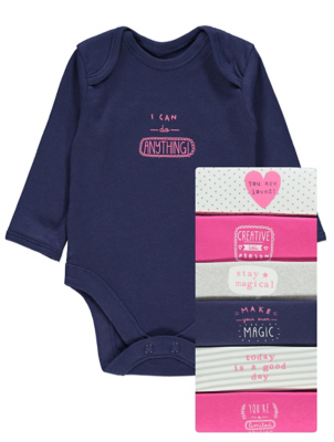 Pink Slogan Bodysuits 7 Pack