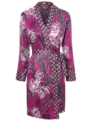 Purple Floral Satin Wrap Dressing Gown
