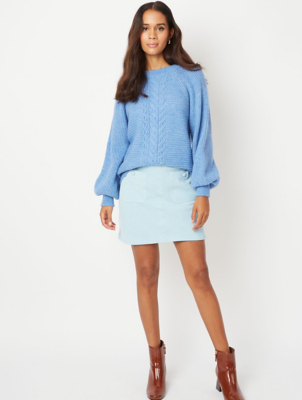 Pale Blue Corduroy Button Pocket Skirt