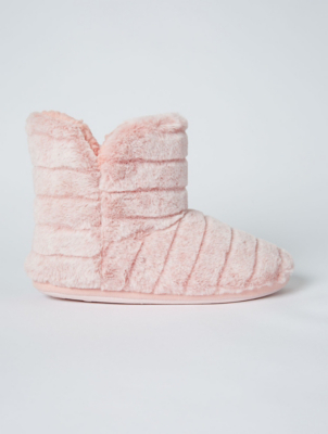Pink Faux Fur Slipper Boots