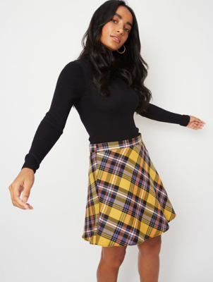 Mustard Yellow Check Mini Skirt