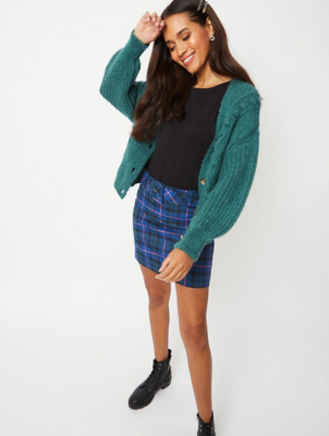 Blue Check Buckle Detail Mini Skirt