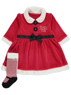 Red Velour Santa Slogan Dress and Tights Christmas Outfit