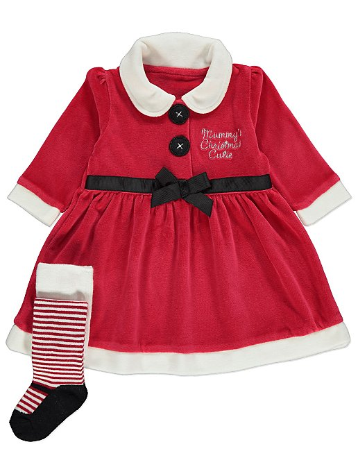 Christmas Outfit.Red Velour Santa Slogan Dress And Tights Christmas Outfit