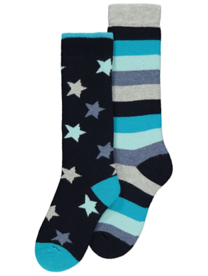 Navy Striped Welly Socks