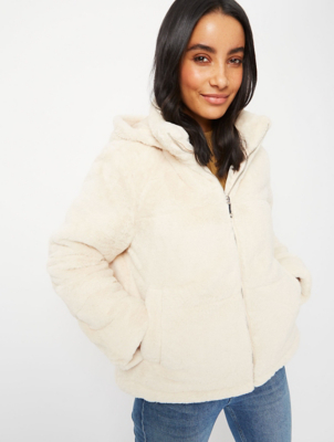 Cream Faux Fur Padded Hooded Jacket