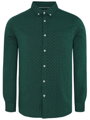Green Micro Cross Print Long Sleeved Oxford Shirt
