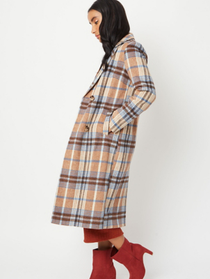 Beige Check Longline Double Breasted Formal Coat