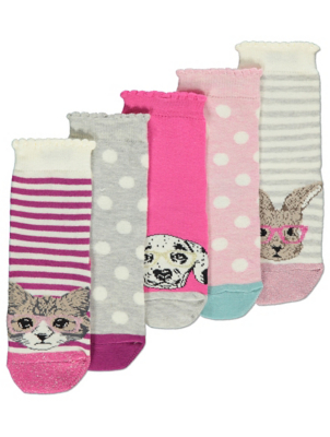 Pink Animal Pattern Ankle Socks 5 Pack