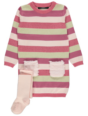 Pink and Gold Stripe Dress and Tights Outfit