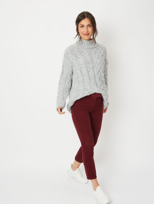 Burgundy Corduroy Buckle Belt Ankle Grazer Trousers