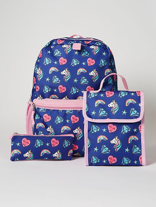 Blue Unicorn Rucksack Lunch Bag And Pencil Case Set Kids George At Asda