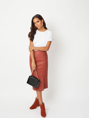 Brick Red Faux Leather Pencil Midi Skirt