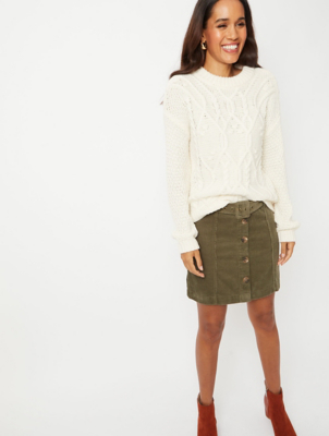 Khaki Corduroy Button Detail Utility Skirt