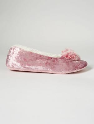 Pink Velour Heart Pom Pom Slippers