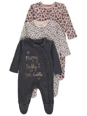 Pink Leopard Print Sleepsuits 3 Pack