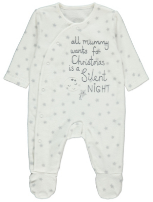 White Embroidered Christmas Slogan Fleece Sleepsuit