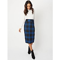Blue Check Belted Midi Pencil Skirt by Asda