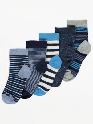 Blue Striped Ankle Socks 5 Pack