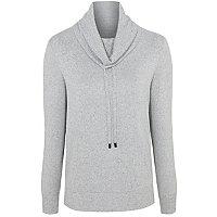 Grey Knitted Cowl Neck Loungewear Sweatshirt by Asda