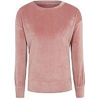 Pink Velour Loungewear Sweatshirt by Asda