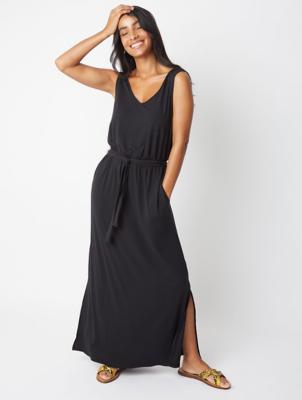 Black Belted Jersey Maxi Dress