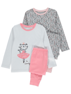 Pink and Grey Ballerina Cat Pyjamas 2 Pack