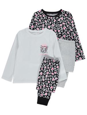 Long Sleeve Leopard Print Pyjamas 2 Pack