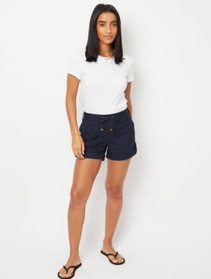 Navy Button Cuffed Poplin Shorts