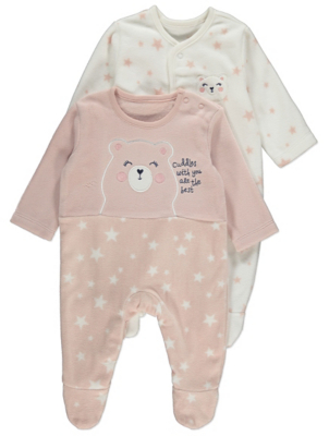 Pink Bear Fleece Sleepsuits 2 Pack