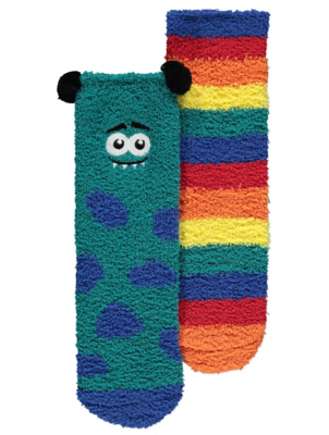 Rainbow Monster Cosy Socks 2 Pack