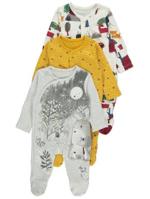 Assorted Animal Print Sleepsuits 3 Pack