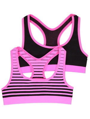 Pink Striped Seam Free Crop Tops 2 Pack