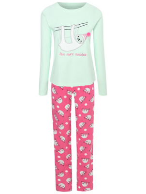 Mint Green Sloth Slogan Pyjamas Gift Set