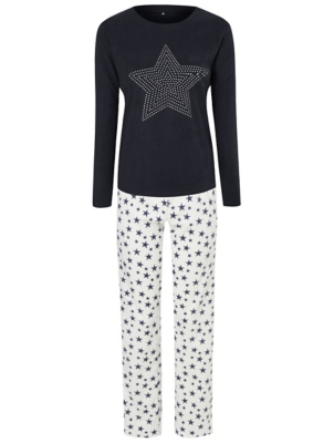 Navy Fleece Diamanté Star Pyjamas Gift Set