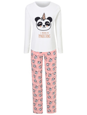 White Fleece Panda Unicorn Slogan Pyjamas Gift Set