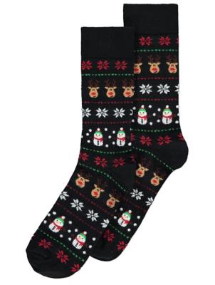 Fairisle Reindeer Christmas Socks