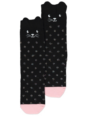 Halloween Black Shimmering Cat Socks
