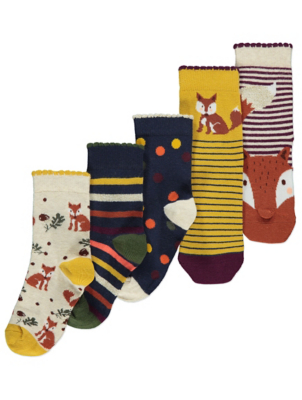 Woodland Animal Ankle Socks 5 Pack