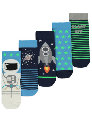 Assorted Outer Space Print Socks 5 Pack